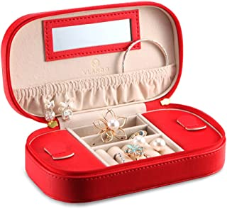 Vlando Small Travel Jewelry Box Organizer - Woman Girls Take-Out Handbags - Faux Leather Tassel Design (Red)