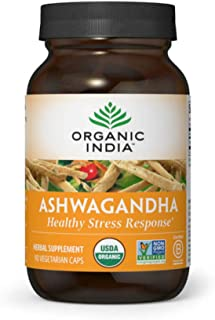 ORGANIC INDIA Ashwagandha Supplement, Healthy Stress Response, 90 Veg Caps