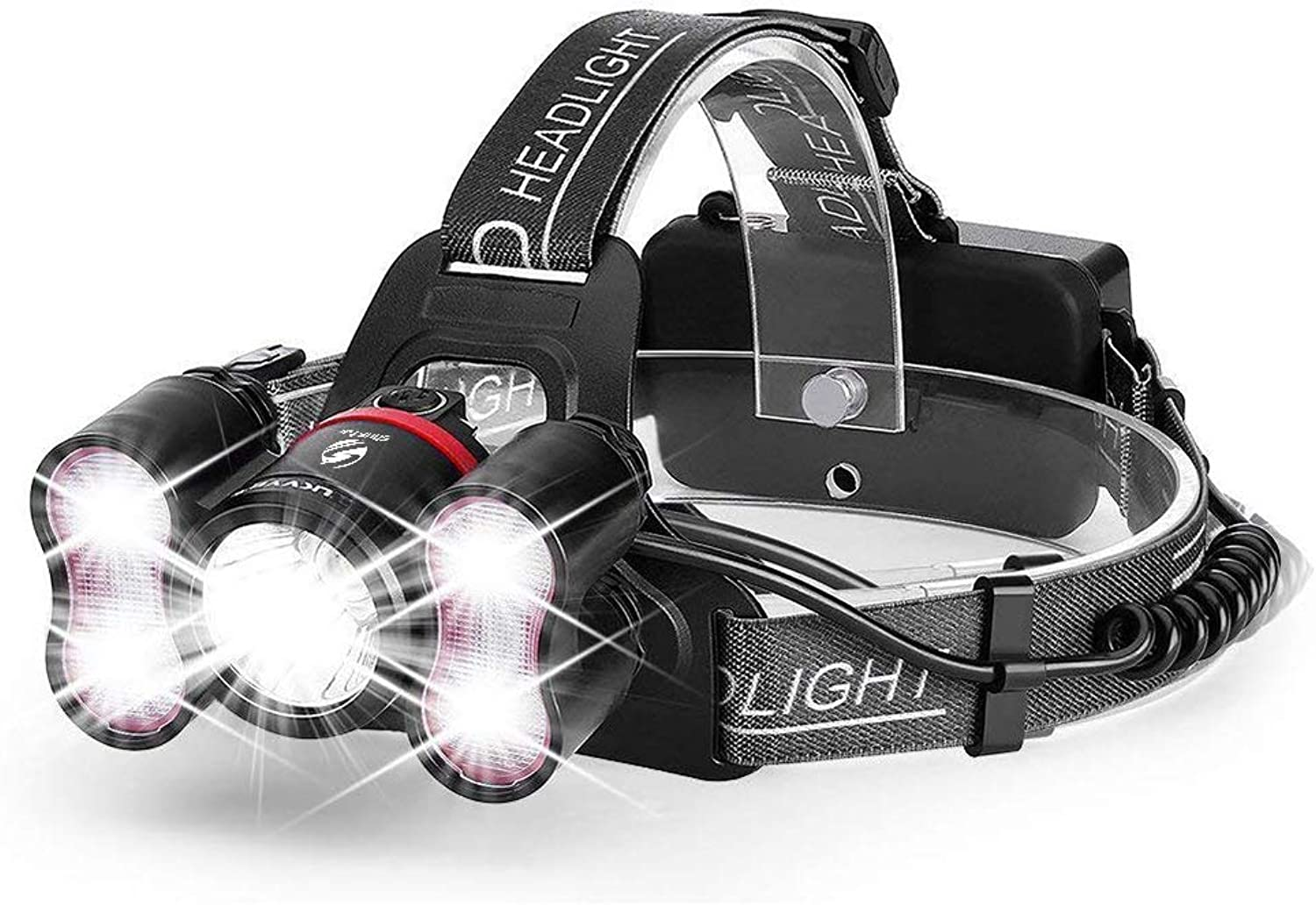 Stirnlampen 5 Leds Super Bright Led Headlamp 10000 Lumens Led Headlighr 4 Switch Modes Fishing Lamp Waterproof Headlight +2X