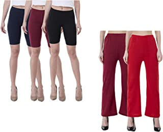 IndiWeaves Womens Cotton Solid Cycling Shorts and Woolen Palazzo (Pack of 5)