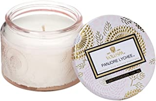 Voluspa Panjore Lychee Petite Embossed Glass Jar Candle, 3.2 Ounces