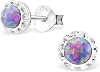 Sterling Silver Lavender Opal With Crystal Halo Edge Wholesale Stud Earrings With Gift Box