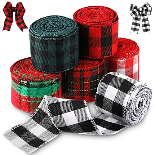 6 Rolls 2 Inches Christmas Wired Edge Ribbons Plaid Ribbon Wired Burlap Ribbon for Christmas Decoration DIY Wrapping Wedding Floral Bows Crafts, Total 32 Yards (Multi Color)