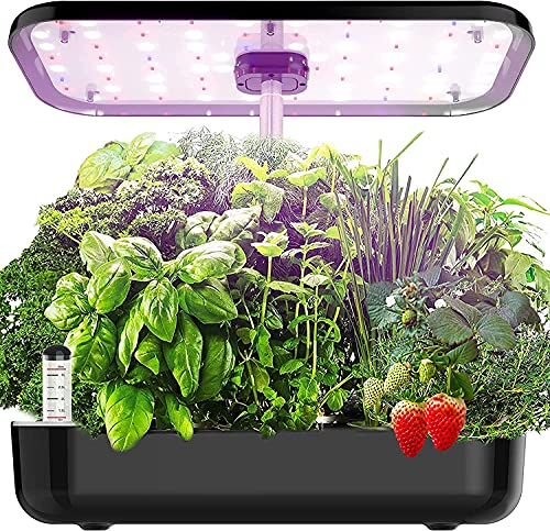 Yoocaa 12 Pods Hydroponics Growing System Indoor, Large Indoor Herb Garden with LED Light, Up to 19.4'' Height Adjustable Hydroponics Gardening System for Home Kitchen Gardening, Furvous