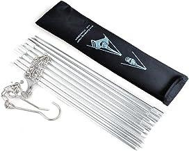 Holzsammlung BBQ Dreibeingestell mit Kette und Haken Tripod Grill komfortabler Tragetasche - Silber 80cm Höhe