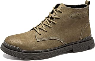 SHENYUAN Men's Retro Ankle Boots Work Boots Lace up PU Leather Vegan Outdoor Round Toe Stitching Wear-resistant Solid Color Patchwork Work or Casual Wear (Color : Khaki, Size : 44 EU)