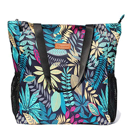 Original Floral Water Resistant Large Tote Bag Shoulder Bag for Gym Beach Travel Daily Bags Upgraded ([V] Blue leaf)