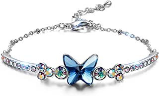 ✦ Butterfly Dream ✦ Women Bracelet Christmas Gifts Butterfly Bangle Tennis Bracelets for Women with Denim Blue Crystal from Swarovski Box Chain Hypoallergenic