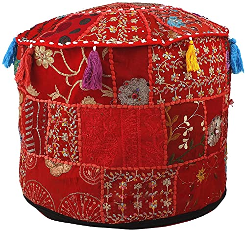 Aakriti Indian Pouf Footstool with Embroidery Pouf, Indian Cotton, Pouf, Ottoman Pouf Cover with Ethnic Decor Art - Cover (Red, 56x35 cms)