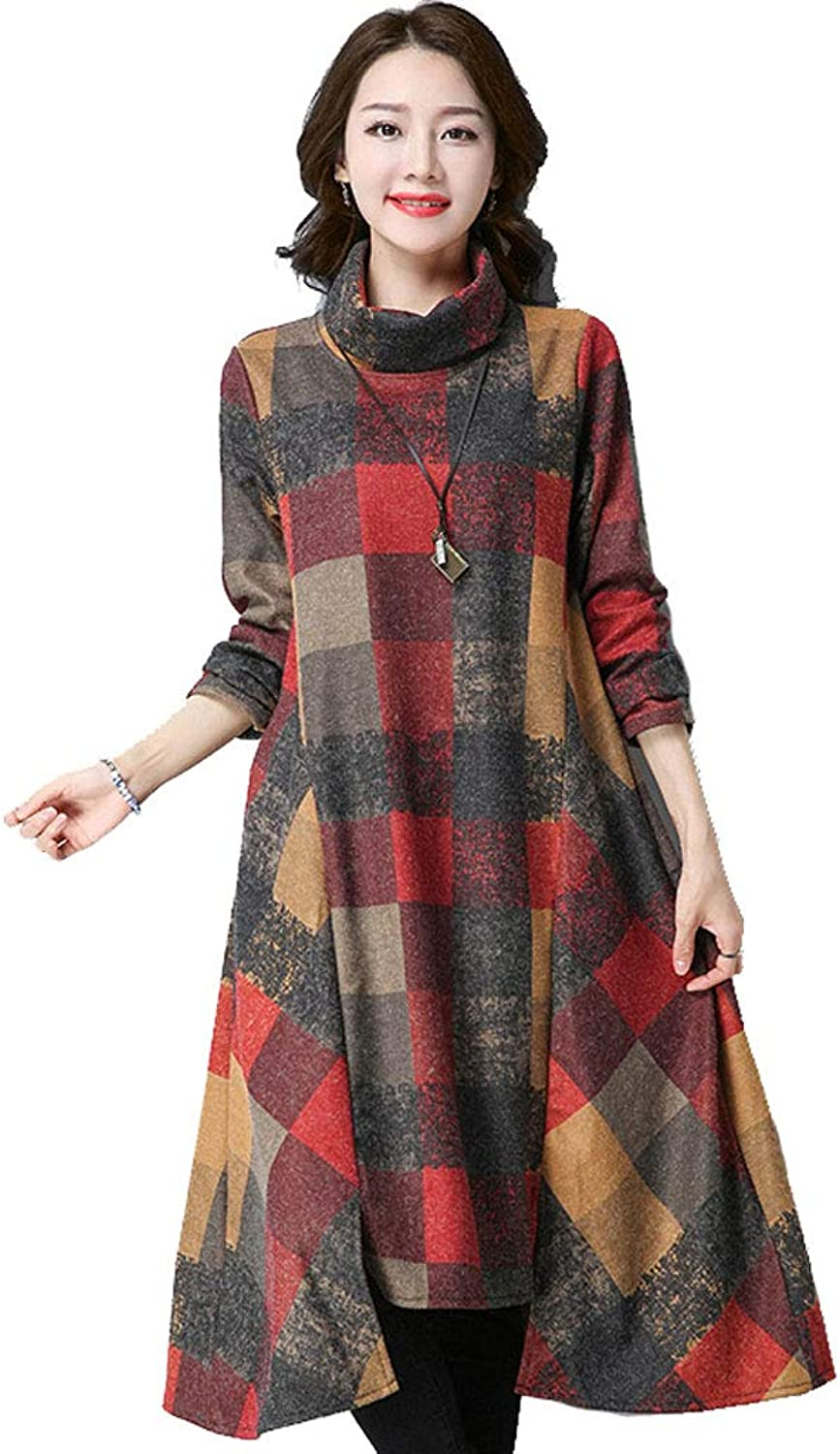 Women's Woolen Dress in The Long Section of The LongSleeved Retro Art highNecked Long Skirt  Autumn and Winter Models (color   B, Size   XXL)