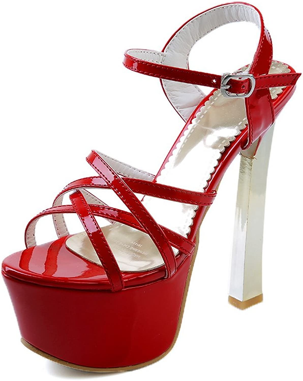 AdeeSu Girls High-Heels Open-Toe Patent Leather Sandals