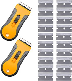 EEFUN 2pcs Glass Scraper with 20pcs Stainless Steel Blades for Removing Vinyl Decals Stickers &Glue from Cars, Boats and Other Delicate Surfaces