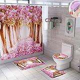 Enhome Badteppich Set 4teilig, Badezimmermatten Set mit Duschvorhang + rutschfeste U-Sockelteppich, Toilettenabdeung & Badematte Blumenkunst Muster (Rosa Blume)