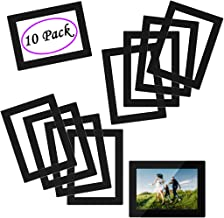 HAMRAY Non Magnetic Self-Adhesive Picture Frames Refrigerator Protect Photo Flyer - Adhesive Free - Stick on Fridge Wall Door Bathroom Cabinet Reusable Durable Clear - Black Border - 4x6 Inch 10 Pack