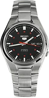 Seiko Men's 5' Japanese Automatic Stainless Steel Casual Watch, Color: Black dial (Model: SNK617)