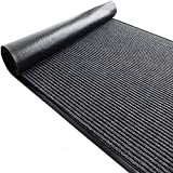 uyoyous 3' X 10' Striped Brush Step Entrance Mat Commercial Grade Door Floor Mat Low Profile Dirt Trap Mat Slip Skid Entrance Mat Indoor Scraper Door Mat Ribbed Hallway Runner Rug with Rubber Backing