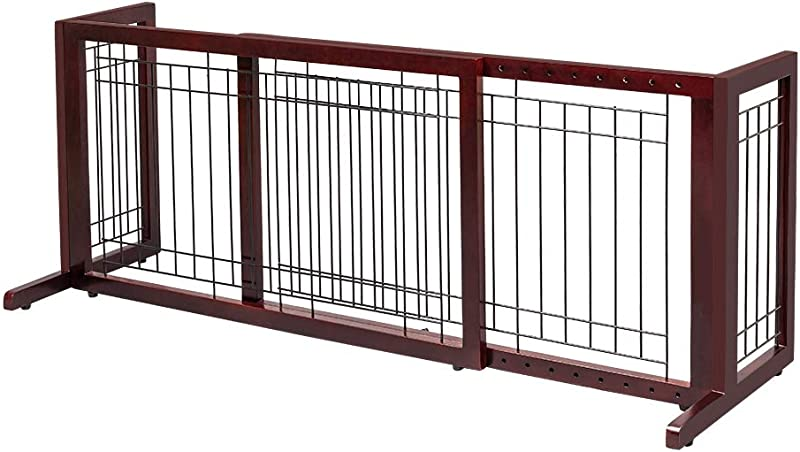 Bonnlo Freestanding Pet Gate Adjustable From 40 To 71 Sturdy Solid Wood Dog Gate For Indoor Stairs Wide Openings Doorway Cherry
