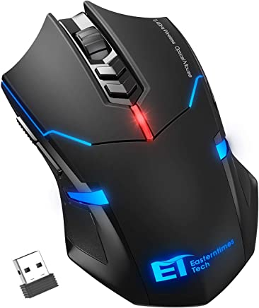 VicTsing Wireless Mouse Ergonomic Gaming Mice with [Silent Click] [LED Backlight] [7 Buttons] [Adjustable 2400 DPI] [Nano Receiver] for Game PC Laptop Computer Mac (Black)