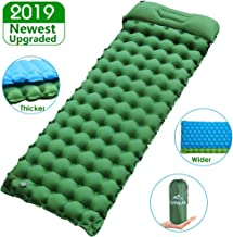 """Sleeping Pad for Camping Backpacking, Thickened 3.7"""" & Widened 27.5"""" Ultralight Compact Camping Pad with Pillow Lightweight Air Mattress Inflatable Sleeping Mat for Hiking, Travelling"""