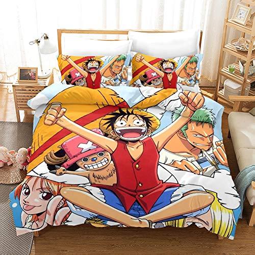 Monkey D. Luffy Anime Funda de edredón de una pieza proporciona una suave y transpirable funda de edredón y funda de almohada de dos dimensiones para niños y niñas.