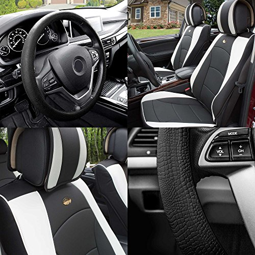 FH Group PU205102 Ultra Comfort Highest Grade Faux Leather Seat Cushions (White) Front Set with Gift – Universal Fit for Cars Trucks & SUVs
