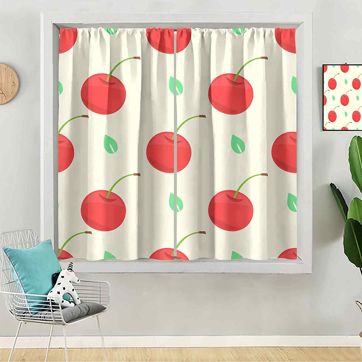 Rod Pocket Curtains Seamless Cute A surprise price is realized Leaf Cherry Pattern and with Price reduction