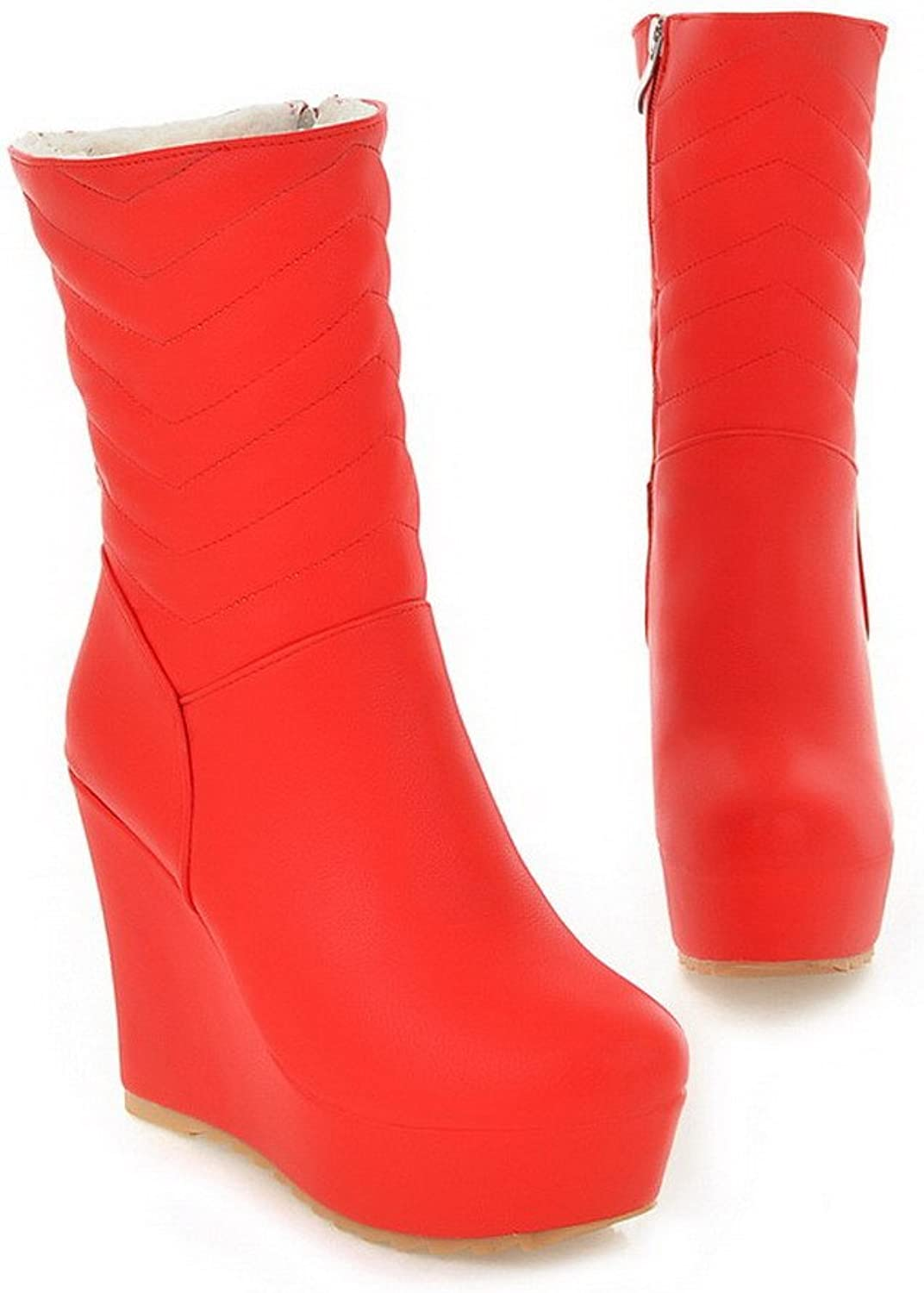 AmoonyFashion Womens Closed Round Toe Low High Heels PU Soft Material PU Solid Boots with Wege and Platform, Red, 7.5 B(M) US