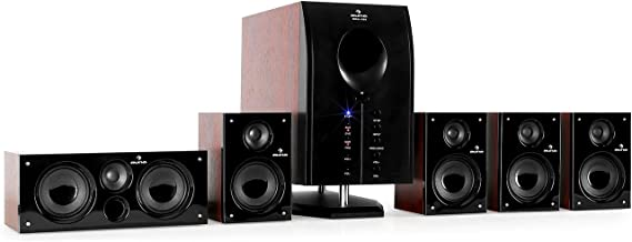 auna Areal Active 525 • 5.1 Surround Sound System • Home Cinema System • Bass Reflex • 5 Satellite Speakers • Bluetooth • USB Port • SD • AUX • Walnut