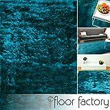 floor factory Exklusiver Hochflor Shaggy Teppich Satin türkis/blau 120x170 cm - edler, seidig glänzender Teppich