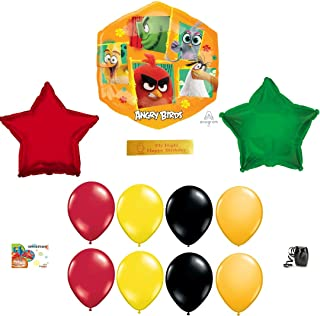 Angry Birds 2 Birthday Party Supplies Including 11 Angry Birds Balloons and a Printed Happy Birthday Ribbon