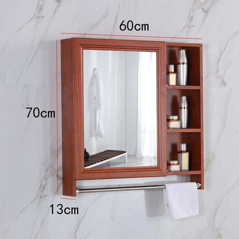 SHYPwM Cabinet Mirror with Shelf Storage Box Bathroom Toilet Wall-Mounted Space Aluminum Mirror Bathroom Mirror (Size   60cm)