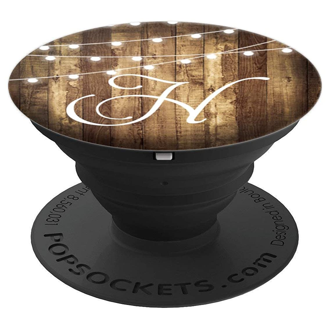 H Monogram Rustic Letter Wood Grain Wooden Look Name Initial - PopSockets Grip and Stand for Phones and Tablets