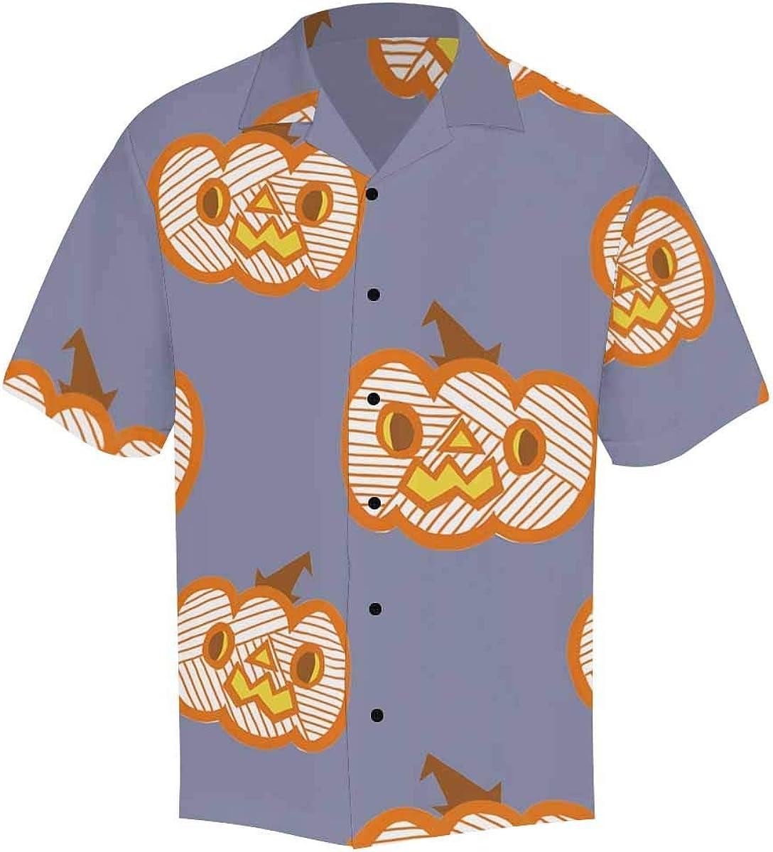InterestPrint Men's Casual Button Down Short Sleeve Halloweem Pumpkin Hawaiian Shirt (S-5XL)