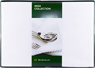 Carrolls Irish Gifts Set Four White Celtic Damask Linen Napkins – Presented in a Box