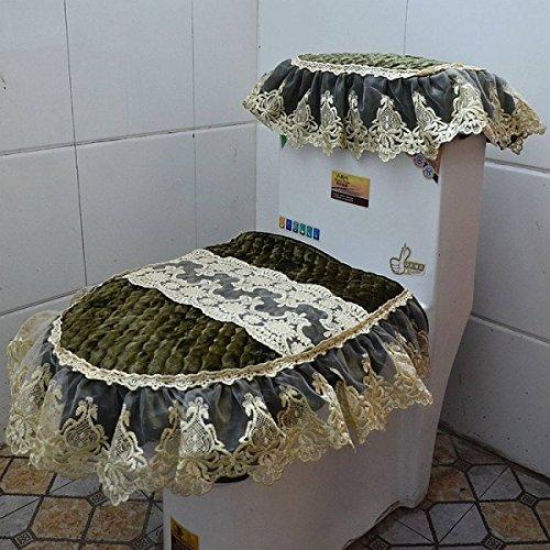 FJHGGETUDN Veloursleder-Dreiteilige Spitze-Stickerei-Gewebe-Reißverschluss-Toiletten-Auflage-Sitzkissen-Ringe-Wasser-Behälter-Abdeckung,A1