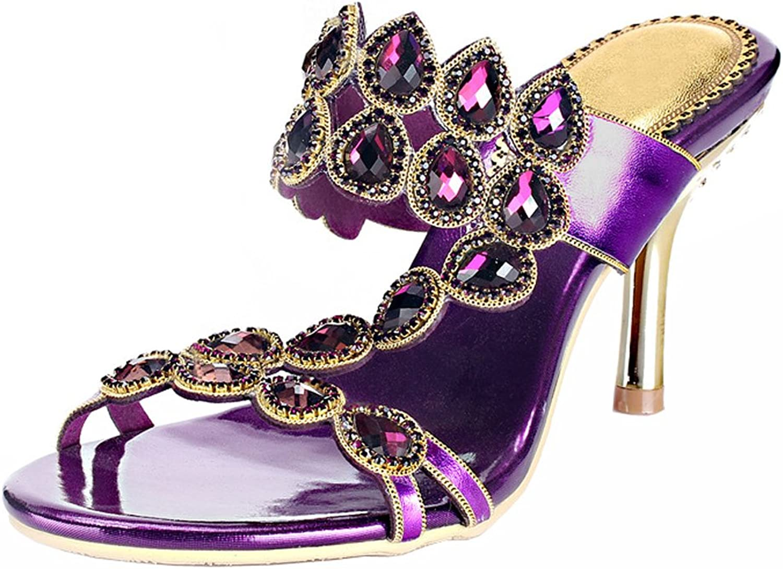 Honeystore Women's Rhinestones with Tear Shaped Crystal Sandals