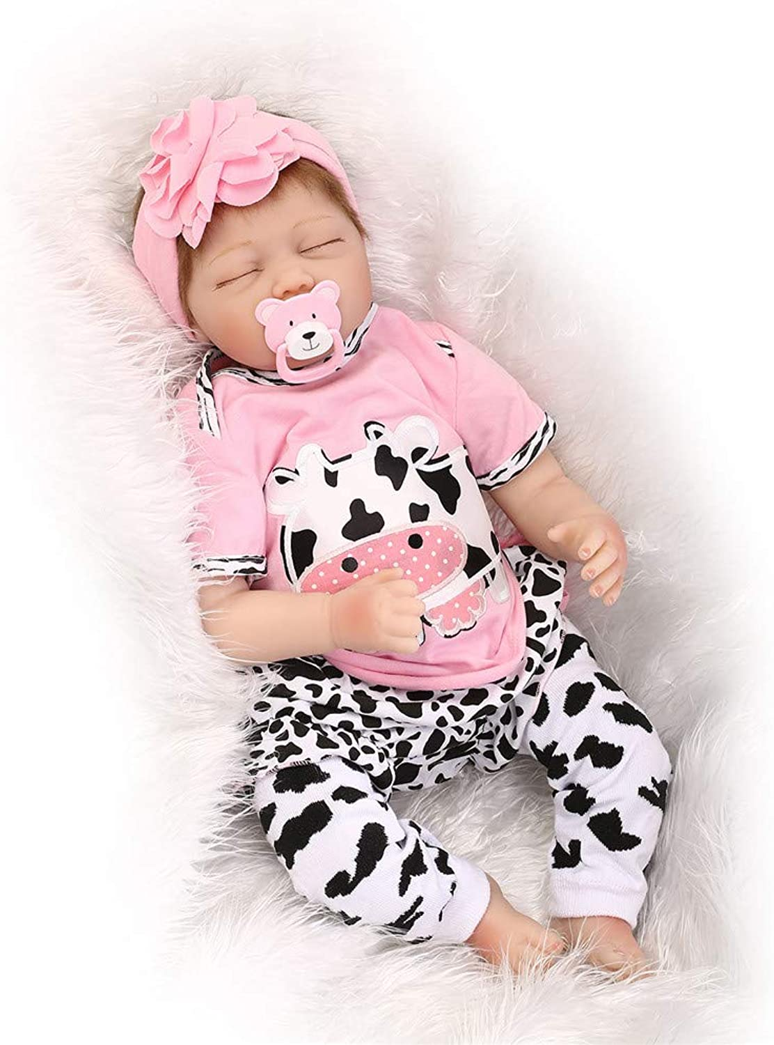 HWBB Reborn Baby Doll Handmade Realistic Reborn Doll Full Simulation Silicone Vinyl 22 inch 55cm Baby Girl Safety Tested For age 3