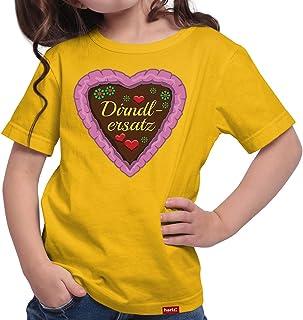HARIZ Mädchen T-Shirt Dirndlersatz Lebkuchen Oktoberfest Outfit Tracht Dirndl Lederhose Plus Geschenkarte