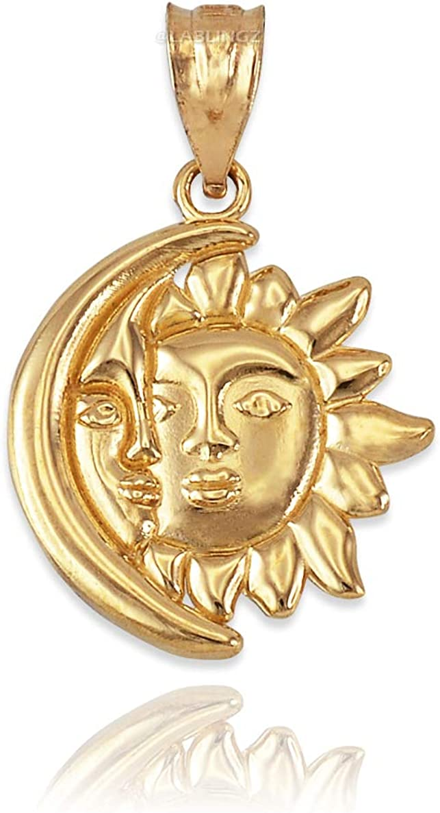 10K Yellow Gold Moon and Sun Face Celestial Pendant Necklace