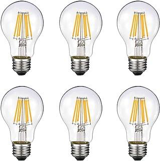 Vintage Edison LED Bulb, Dimmable 6W A19 Antique LED Bulb, 60 Watt Equivalent for