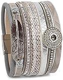 styleBREAKER Armband mit Ethno Style Amulett, Feder Anhänger, Strasssteine, Webstoff, Magnetverschluss, Damen 05040043, Farbe:Hellgrau
