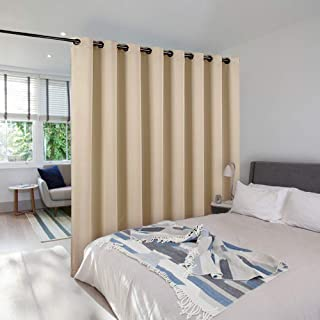 NICETOWN Privacy Screen Room Divider Panel, Home Decoration Metal Grommet Top Floor to Ceiling Room Divider for Shared Apartment (Biscotti Beige, 1 Panel, 15ft Wide x 9ft Long)