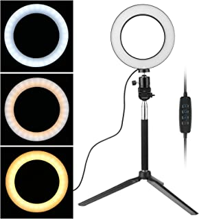 "EEEKit 8"" Selfie Ring Light with Tripod Stand for Live Stream/Makeup, Mini Led Camera Ringlight for YouTube Video/Photography/Vlogs/Desktop Compatible with iPhone Android"