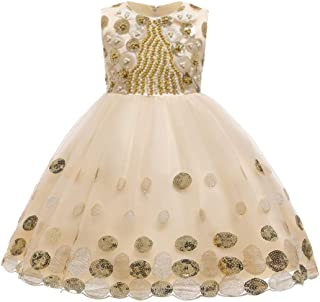TOYANDONA Princess Tulle Tutu Pageant Girl Dress Sleeveless Sequins Pearl Tutu Skirt for Birthday Wedding Party Dress Fancy Dress Up Outfits Champagne 130cm