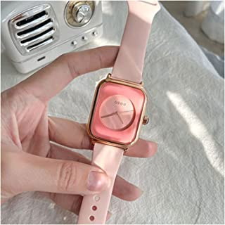 Ladies Watch, Silicone Strap, Bracelet Watch, Analogue, Classic, Quartz Watch, Brown, Green, Angular (Color : Pink)