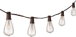 NIOSTA 13ft Outdoor Bistro String Lights,Patio Lighting Strand with 10 Clear Antique Bulbs, Hanging Lights String for Indoor Room Backyard Party, Pergola,Market,Cafe, Gazebo, Porch -Brown