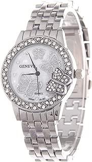 Women's Diamond Butterfly Wrist Watch, Silver Stainless Steel, Geneva Fashion Quratz Watches