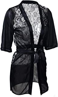 Other Fashion Black Satin Black Lingerie Costume Pajamas Underwear Sleepwear Robe And G-String
