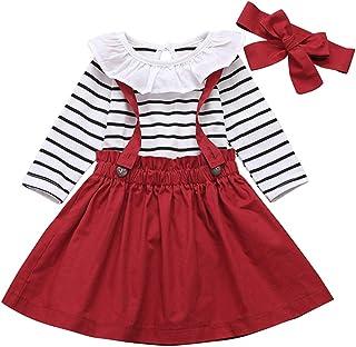DaMohony - Conjunto de ropa para niña (3 unidades), diseño de rayas