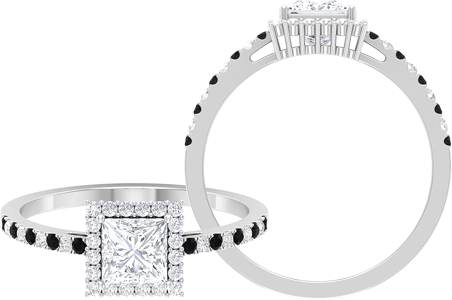 April Birthstone Long Beach Mall - 1 CT Princess Cut Diamond and Attention brand Black Solitaire